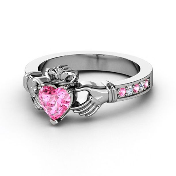 Claddagh RingHeart Pink Sapphire 14K White Gold Ring with Pink Sapphire