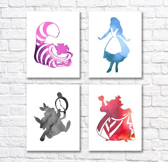 SPECIAL OFFER Alice In Wonderland Print Set of 4 by QuantumPrints
