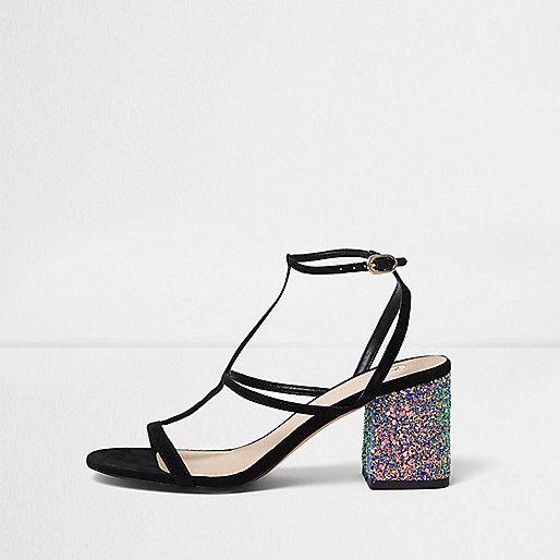 Zwarte sandalen met glitter en blokhak - schoenen / laarzen - sale - dames