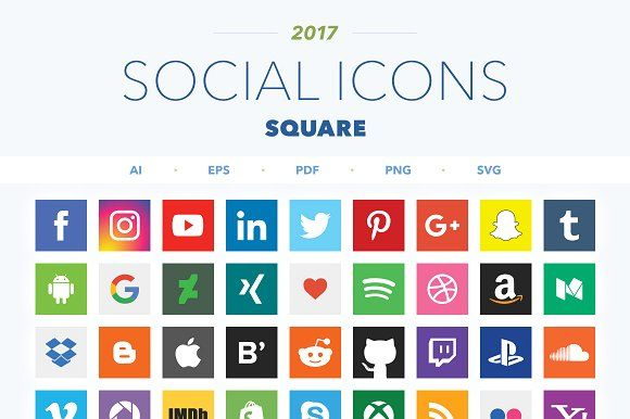 2017 Square Social Icons by Poego on @creativemarket