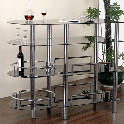 Whether you're an experienced mixologist or just a budding bartender, you'll be entertaining in high style once you bring in this beautiful bar. Showcasing an elegant openwork design, this piece is framed by five polished chrome-finished metal legs while four tiers of tempered glass shelves in smoked black add a hint of contrast. For an extra dash of distinction, two circular shelves highlighted by sleek bars and other curved edges make this piece absolutely marvelous. Keep it in the ...