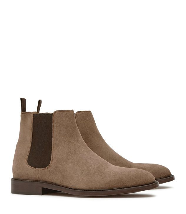 Tenor Suede Taupe Suede Chelsea Boots - REISS