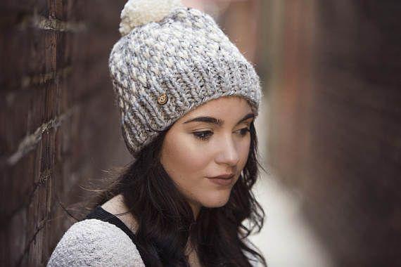 Light Grey and White Polka Dot Pom Pom Hand Knit Hat