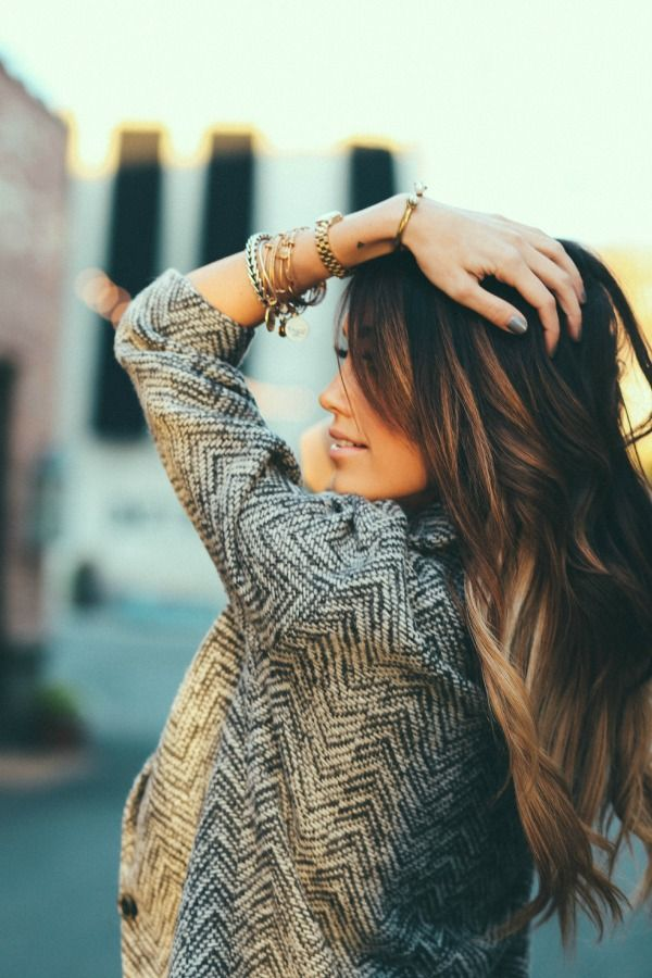 Gorgeous natural ombre & easy curls for any season - adorable for the fall & the bangles are a nice touch. Follow my hair & fashion boards for a little inspiration !