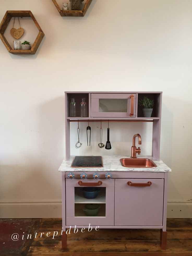 DUKTIG IKEA Kitchen, hack makeover upcycle refurb renovation children kids toddler play toys craft diy fun purple copper rose gold marble grey