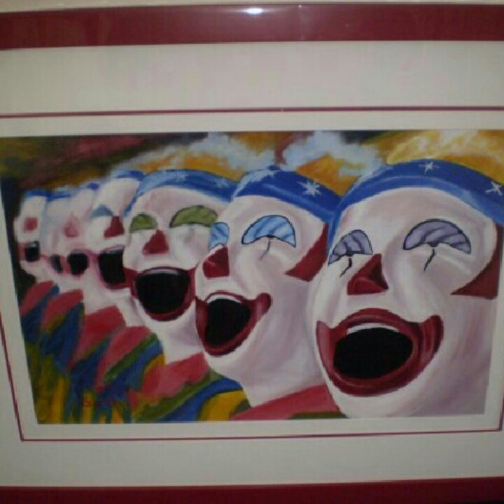 Sideshow clowns in oil