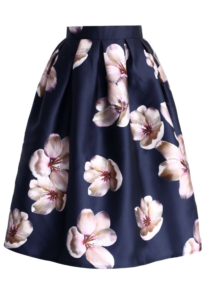 Peach Blossom Midi Skirt in Navy - Skirt - Bottoms - Retro, Indie and Unique Fashion