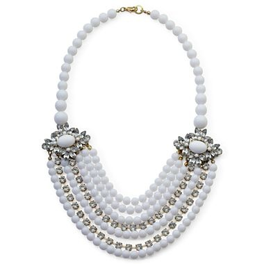 White Bead & Crystal 7-Row Necklace - jcpenney