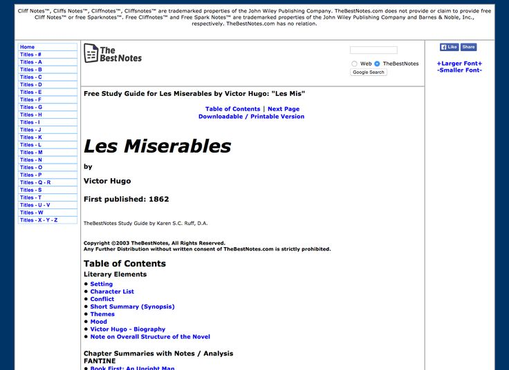 Les Miserables by Victor Hugo: Free Study Guide / Summary / Chapter Notes / Synopsis / Plot Analysis / Download