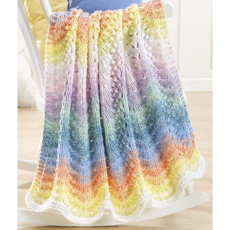 Rainbow Multi Colors Pastel Waves Ripple Baby Blanket Knit