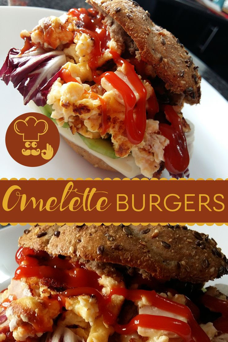 Perfect quick and healthy breakfast recipe!  You only need some fresh buns, eggs, cheese and greens. Best thing about these omelette burgers? There are no real rules, you can add in whatever you like.  #breakfast #omelette #burger