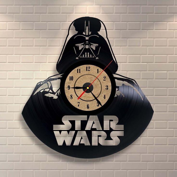 Darth Vader als Wanduhr -  hergestellt aus einer Schallplatte | Vinyl Record Clock Star Wars Schlafzimmer Wand Dekor | Cooles Deko Highlight für ein Star Wars Kinderzimmer: