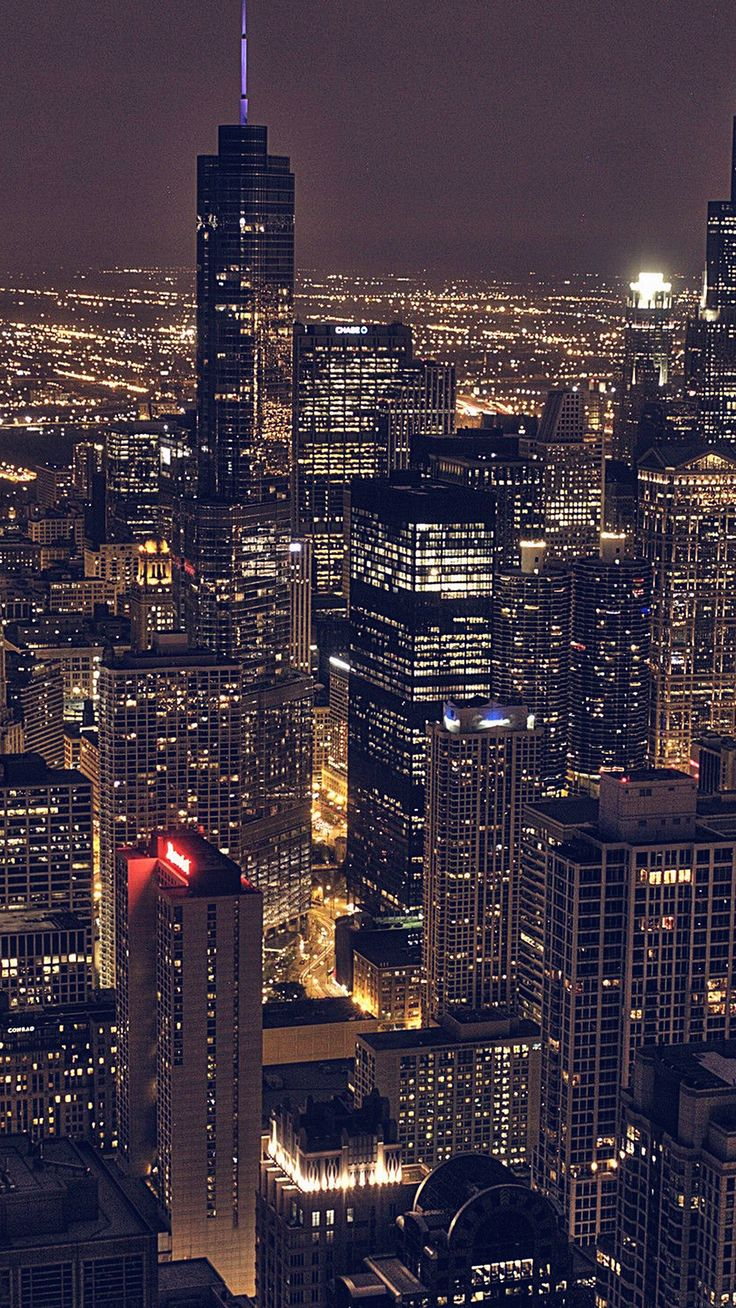 Wallpaper iphone 6 hd - Chicago City Aertial View Night Iphone 6 Plus Hd Wallpaper