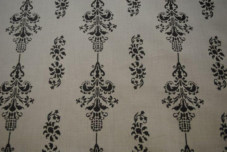 Love Thistle Charcoal on White linen/cotton blend 137cm