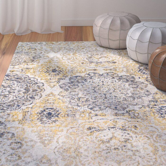 Kelvin Floral Gold Area Rug In 2020 Area Rugs Light Blue Area Rug Yellow Area Rugs