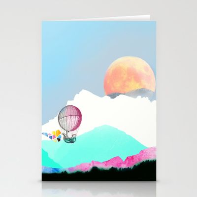 Magic Moon Stationery Cards by The Digital Weaver | Society6