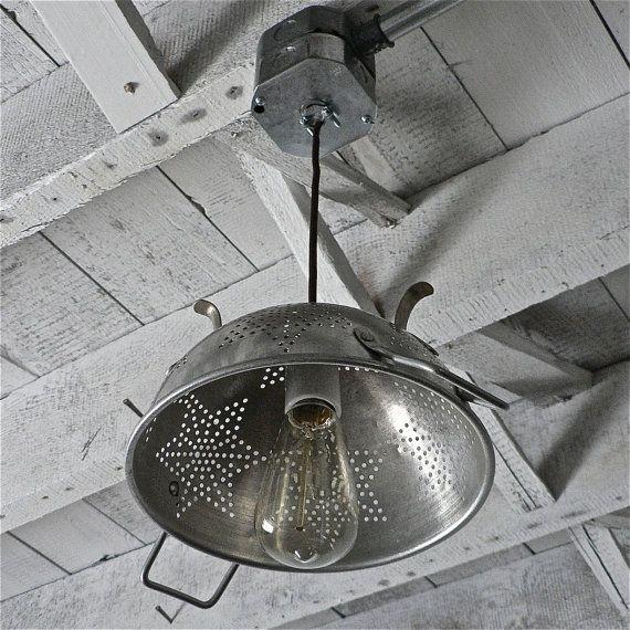 vintage colander light fixture...I have a colander exactly like this!