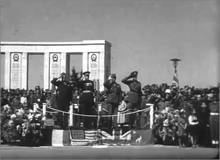 Allied Victory Parade in Berlin: 8 May 1946. L to R: Maj Gen Frank A. Keating (USA), Aleksandr Kotikov (Russia), Brig Gen Charles Lan?on (France) and Maj Gen Eric P. Nares (UK) 1946.05.08 foto2