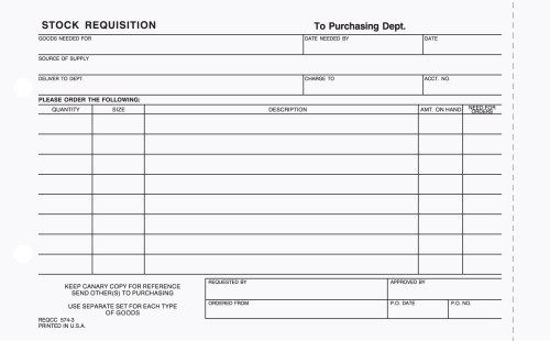 3-Part Stock Requisition Form Carbonless | Stargate Design Business Forms Promotional Printing