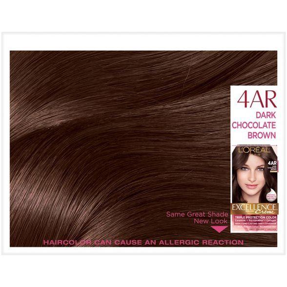L Oreal Paris Excellence Triple Protection Permanent Hair Color 6 3 Fl Oz 4ar Dark Chocolate Brown 1 Kit In 2020 Hair Color Permanent Hair Color Loreal