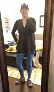 Gray tunic, LulaRoe patterned leggings, Brooks sneakers