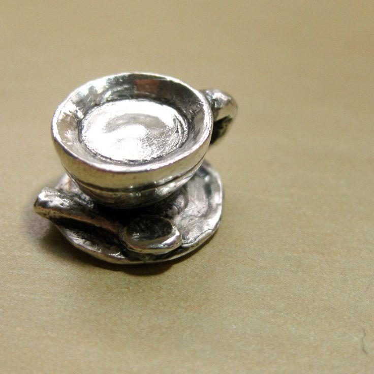 "Coffee Cup Sterling Silver Charm Original- ""Cuppa Joe, Sugar"" by Baublefish on Etsy https://www.etsy.com/listing/77816800/coffee-cup-sterling-silver-charm"