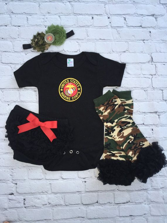 United States Marines Baby Girl Oufit USMC by cupcakenstudmuffins