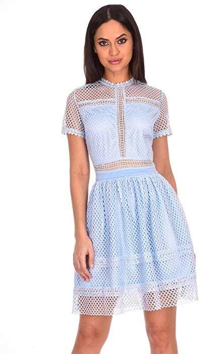 aa8ebae7cf AX Paris Women s Crochet Short Sleeved Dress(Light Blue