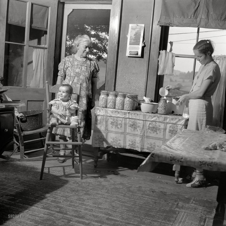 "July 1940. ""Canning beans in farm kitchen near Bristol, Vermont."" Photo by Louise Rosskam for the Farm Security Administration"
