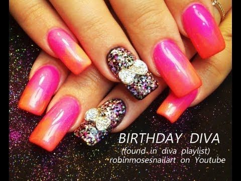 BIRTHDAY NAILS FOR A DIVA pink glow in the dark nails bows robin moses nail art tutorial design 680