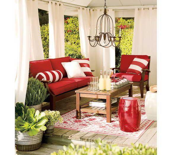 outdoor spaces: Decor, Red, Decks, Outdoor Rooms, Outdoor Living Rooms, Porches, Outdoor Curtains, Outdoor Spaces, Patio Ideas