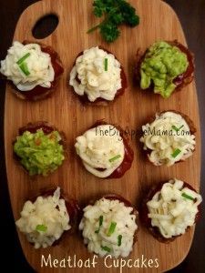 Meatloaf Cupcakes -Fun  twist on traditional meatloaf. Serve these mashed potato topped or Avocado topped meatloaves for family dinner or party get together - Yummy!