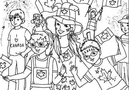 Canada Day Celebrations Coloring Page