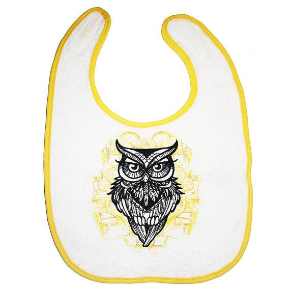 Baby Owl Bib Yellow Metallic Gold and Black by BabysPreciousGifts