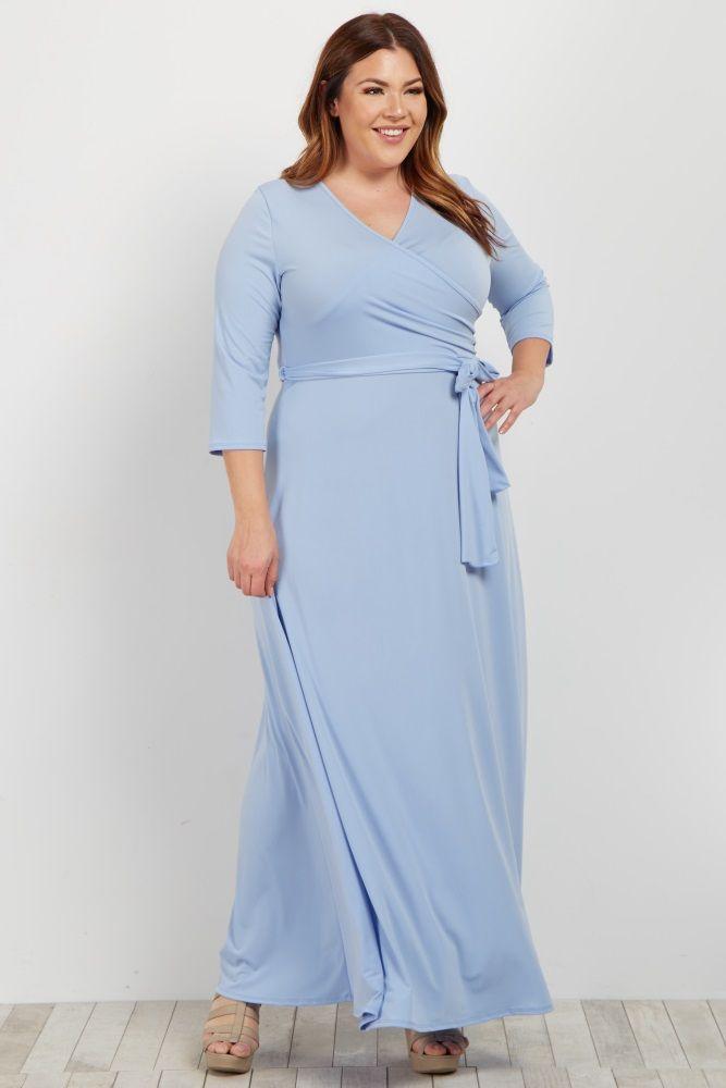 3f7cd7902939 PinkBlush - Where Fashion Meets Motherhood. Light Blue Draped 3/4 Sleeve  Plus Maxi Dress