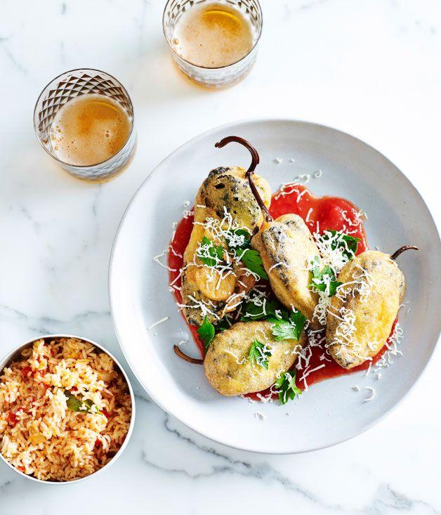 Stuffed ancho chillies