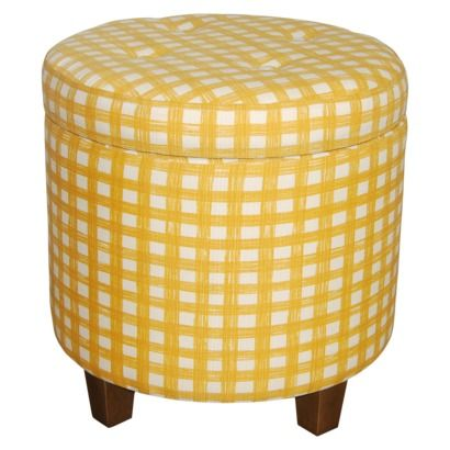 for pet toys in the living room: Round Tufted Storage Ottoman - Gold $59.99