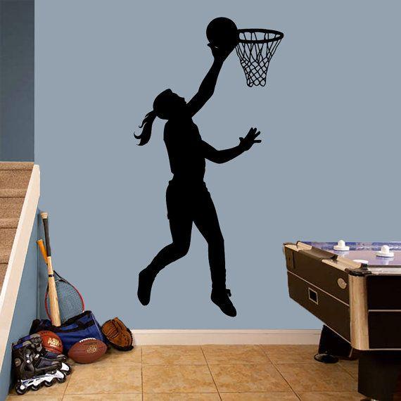Basketball Girl Layup Wall Decal / / Sport / / Kinderzimmer & Kinderzimmer / / Umkleideraum / / Wall Decor / / Wandaufkleber / / Vinyl Wall Decal   – Basketball bedroom