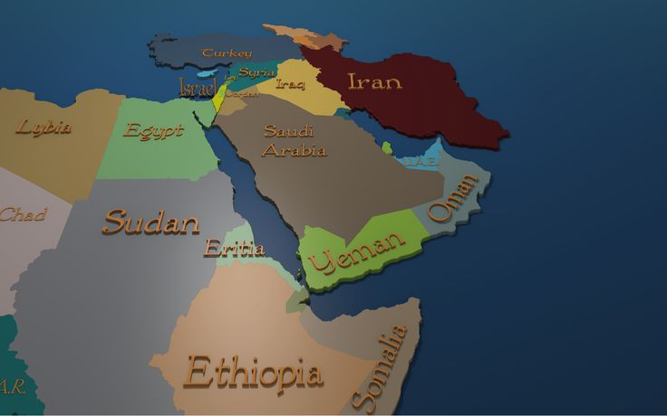 Middle East 3d map with part Africa  with Israel Highlited