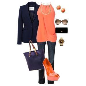 С чем носить оранжевые туфли: синие джинсы
