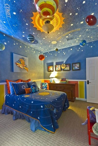 ideas to add to Ben's already outer space themed bedroom.
