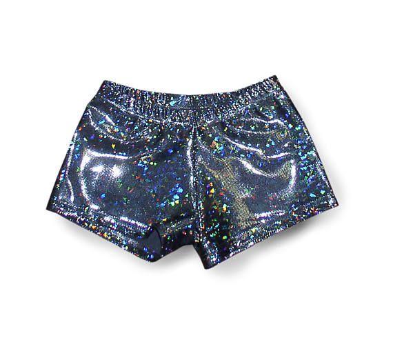 Nylon Spandex Girls Holographic Dance Shorts. Black glittery