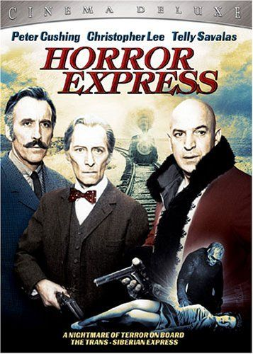 Horror Express. Directed by Eugenio Martín.  With Christopher Lee, Peter Cushing, Telly Savalas, Alberto de Mendoza. An English anthropologist has discovered a frozen monster in the frozen wastes of Manchuria which he believes may be the Missing Link. He brings the creature back to Europe aboard a trans-Siberian express, but during the trip the monster thaws out and starts to butcher the passengers one by one.