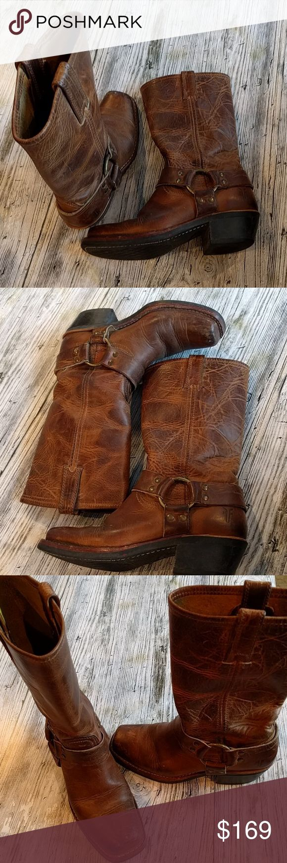 Rugged sexy Frye harness boots size 6 Nothing says classic America like the Frye harness boot Beautiful distressed look This boot is practically indestructible  will last for years Once you purchase these you won't need to buy another timeless style Size 6 Frye Shoes Heeled Boots