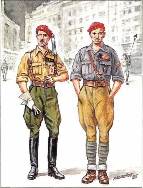 Voluntarios rusos en el Ejército nacional- .1. Teniente con uniforme del ejército español. En la manga izquierda, ángulo de voluntario; en el pecho una cruz de San Andrés (o de San Jorge). 2. Sargento con equipo italiano. Lleva los galones en la boina y el bolsillo. Tres galones de herido en combate en la manga.