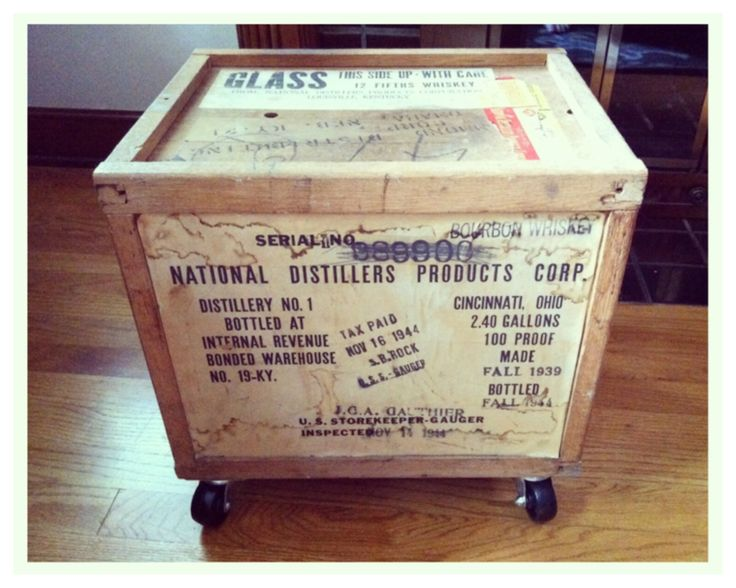 My great aunt's storage box from the 1930s-1940s. It stored 5th of whiskey. I added casters and now it's a storage bin.