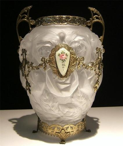 French Antique Frosted Glass Vase Bronze Handles Dore Overlay Guilloche Enamel  c. Early 1900's