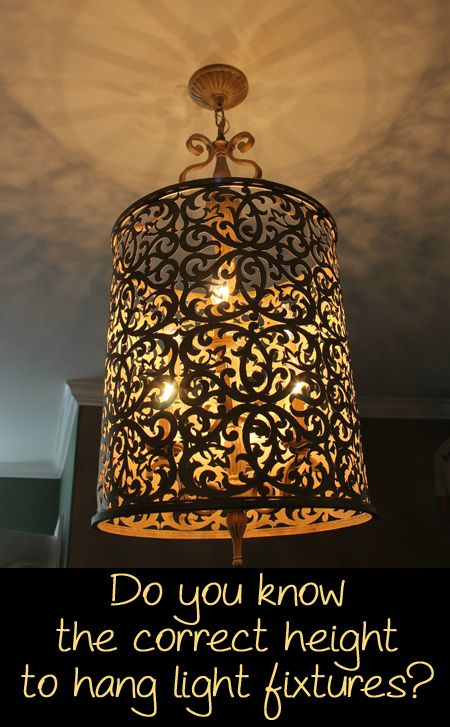 The Correct Height To Hang Light Fixtures Pinterest