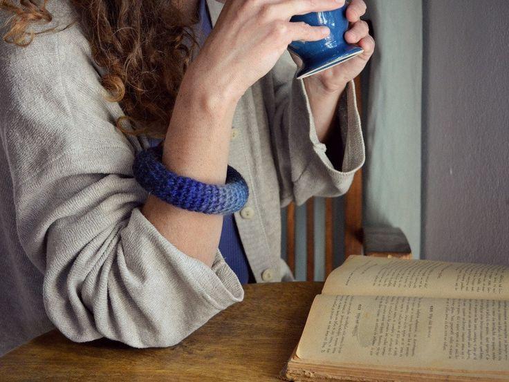 Woolen bangle bracelet/ blue ombre modern crochet jewelry/ neo tribal - pinned by pin4etsy.com