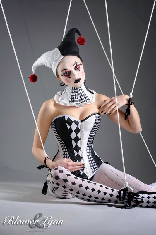 Gothic diamond Harlequin punk black and white corset for fancy dress costume/ cosplay.Sample size 8-10